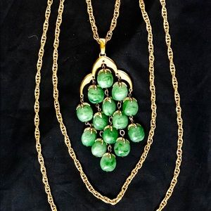 1960's Trifari Green Jade Waterfall Necklace